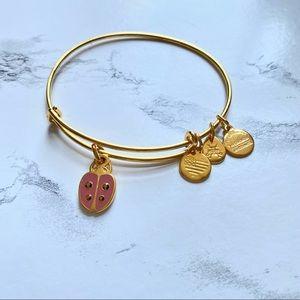 ALEX & ANI Ladybug Charm Bangle Bracelet Gold